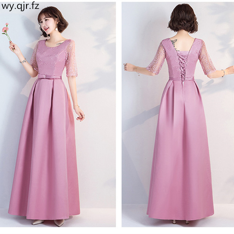 3392a83d4e US $24.44 10% OFF|YWXN5559Y#Pale Mauve Long, medium and short O Neck Lace  up Bridesmaid Dresses 2019 new wedding party dress prom gown wholesale-in  ...