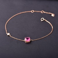 Pink spinel inlaid 18K Gold Bracelet Stimulate body energy and strength