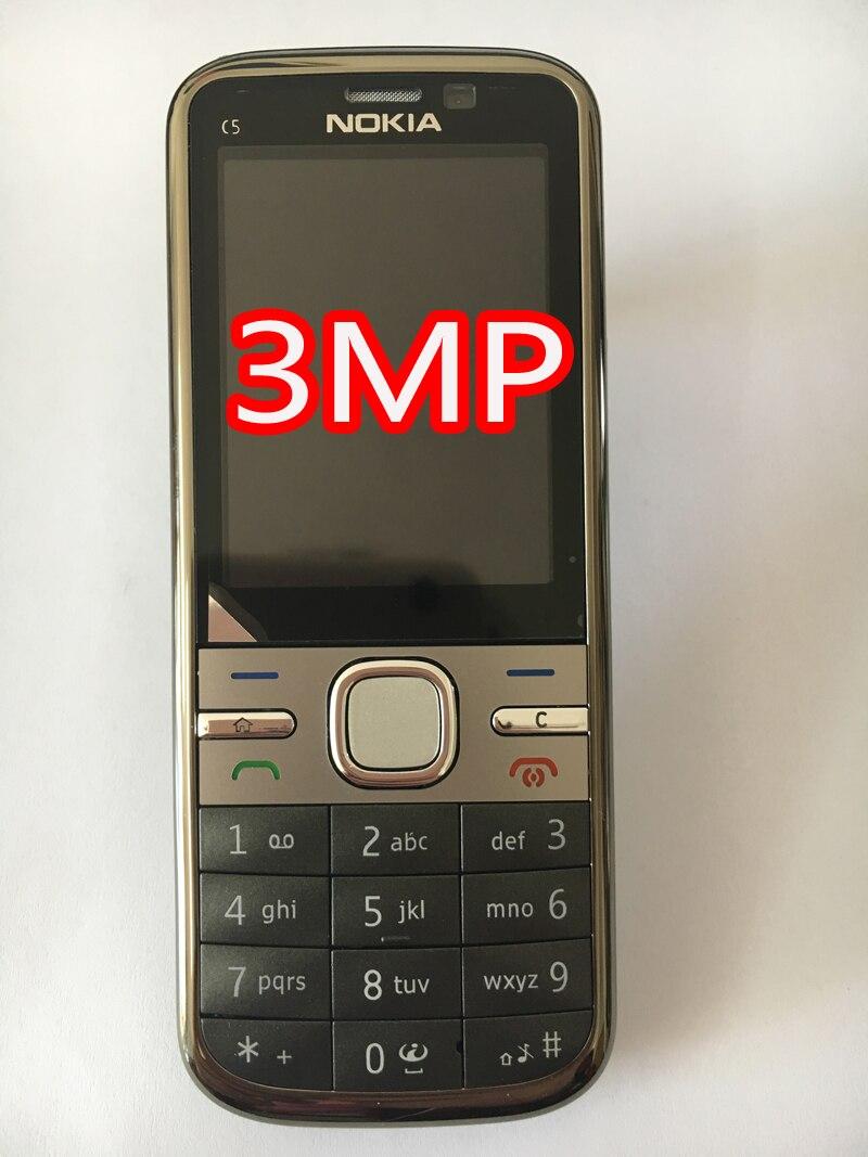 NOKIA C5-00 C5 мобильный телефон разблокированный иврит Арабский Русский Клавиатура Восстановленный мобильный телефон - Цвет: grey 3MP