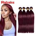 Прямо 99J Бордовый Бразильские Волосы Дешевые Красный Наращивание Волос 4 Пучки Прямые Волосы Ткать Пучки 10-30 Bresilienne Meches много