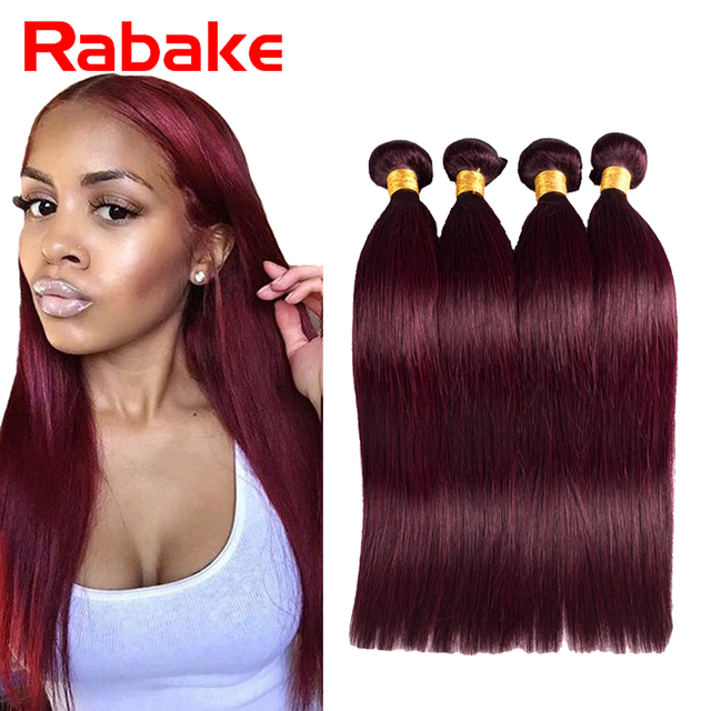 Straight Burgundy Brazilian Hair Cheap Red Hair Extension 4bundles