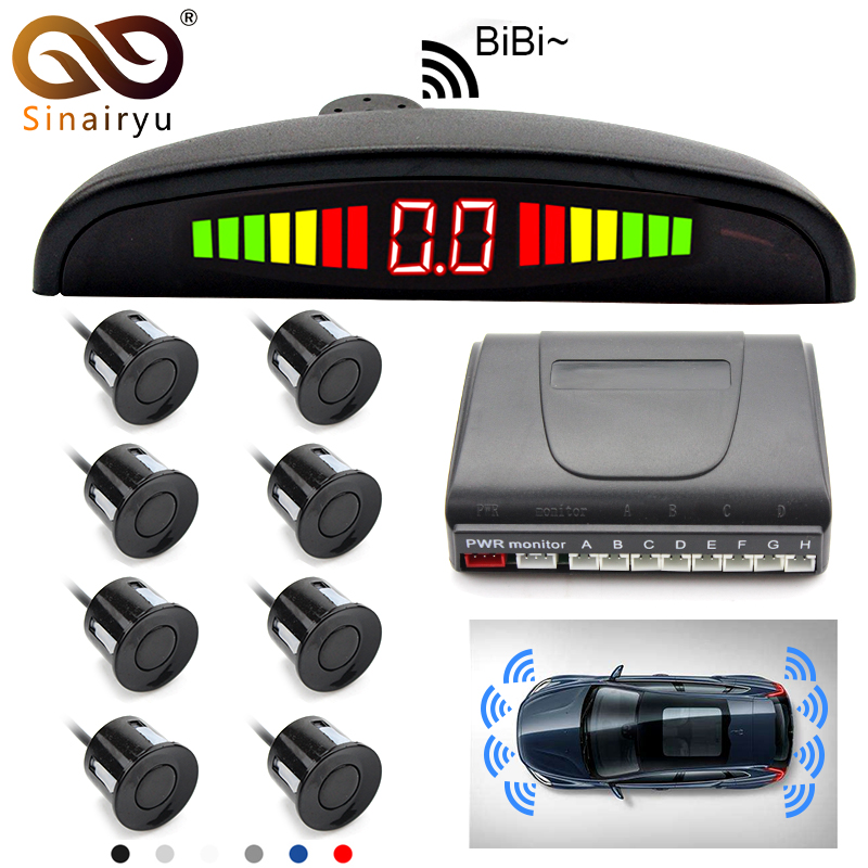 Sinairyu Weatherproof 8 Rear Front View Car Parking Sensor Reverse Backup Radar Kit with LED Display Monitor car parking system best quality car led reverse backup radar led display double cpu parking sensor kit black red white silver 8 colors