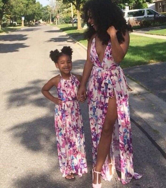 Mother Daughter Family Matching Dress Women Kids Girl Floral Beach Long Dresses