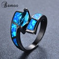 New Arrival Ocean Blue Fire Opal Ring Black Gold Filled Wedding Party Horse Eye Style AAA Zircon Rings Valentine's Day RB0854