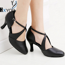Black Women Latin Shoes Salsa Ballroom Dance Shoes Ladies Satin Soft Sole Customized Heels GM004