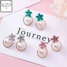 XZP New Design Sweet Jewelry Spray Paint Effect Drop Earrings with Flower Statement Pearl Tassel Earring Gift for Woman