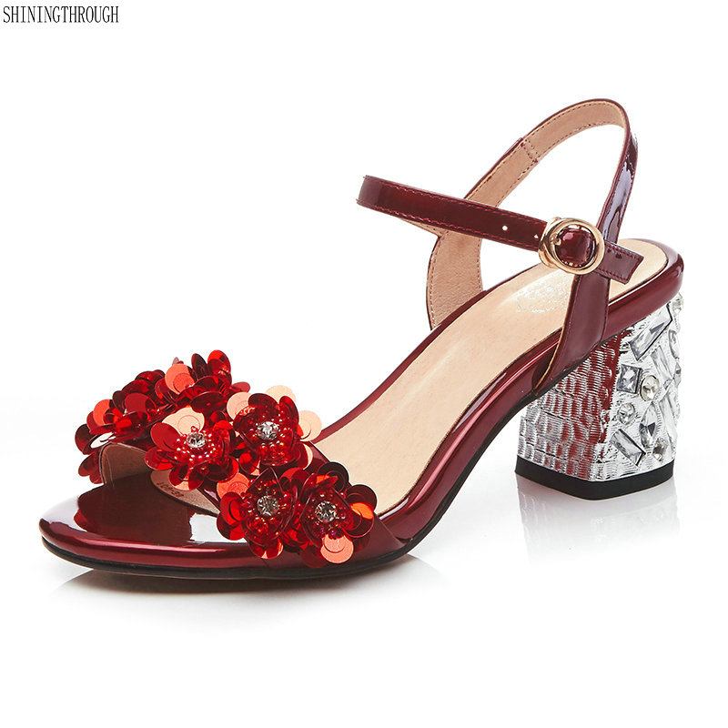 High heels sandals for woman Summer 2018 Genuine leather shoes woman Red silver flower women sandals