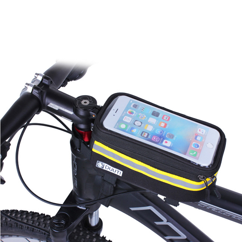 DUUTI Bike Phone Case Utility Bicycle Cell Phone Bag With Touchable TPU Screen Reflective Waterproof MTB Road Bike Case Pouch 4 roswheel tpu waterproof bicycle mobile phone bag w plastic case for iphone 4 4s light coffee