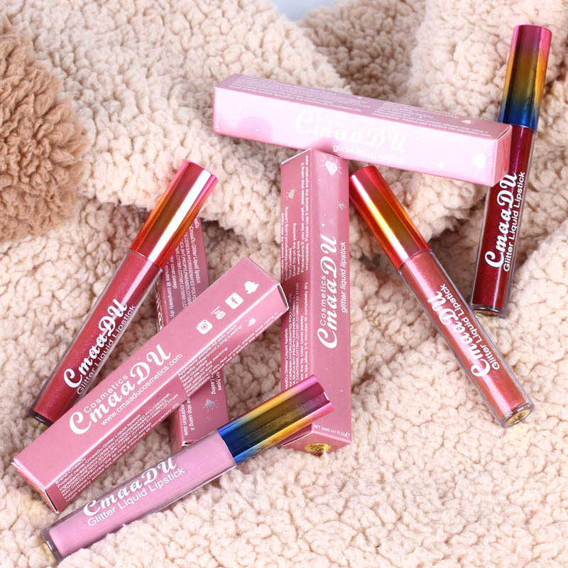 Glitter Lips Make Up Liquid Lipstick Waterproof Long Lasting Shimmer Red Lip Pink Women Lipsticks 4
