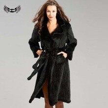 Bffur nuevo extra largo natural escudo de punto de visón con blet abrigos chaquetas de las mujeres de visón auténtico abrigo con cuello en v adelgaza bf-c0150