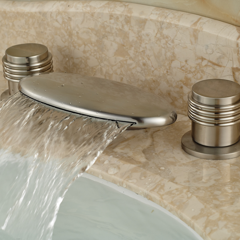ФОТО Deck Mount Waterfall Curve Spout Basin Faucet Dual Handles Widespread 3 Install Holes Brushed Nickel Finish