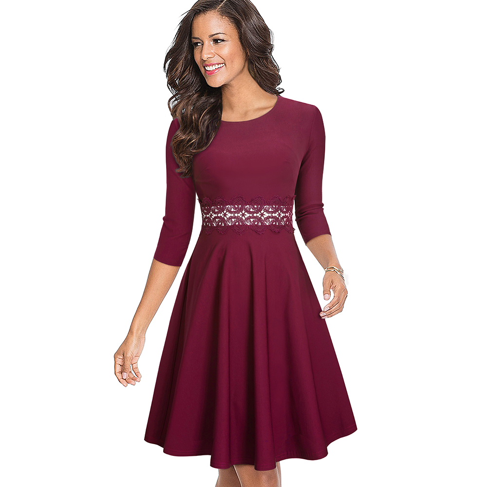 Nice-forever Vintage Elegant Embroidery Floral Lace Patchwork vestidos A-Line Pinup Business Women Party Flare Swing Dress A079 153
