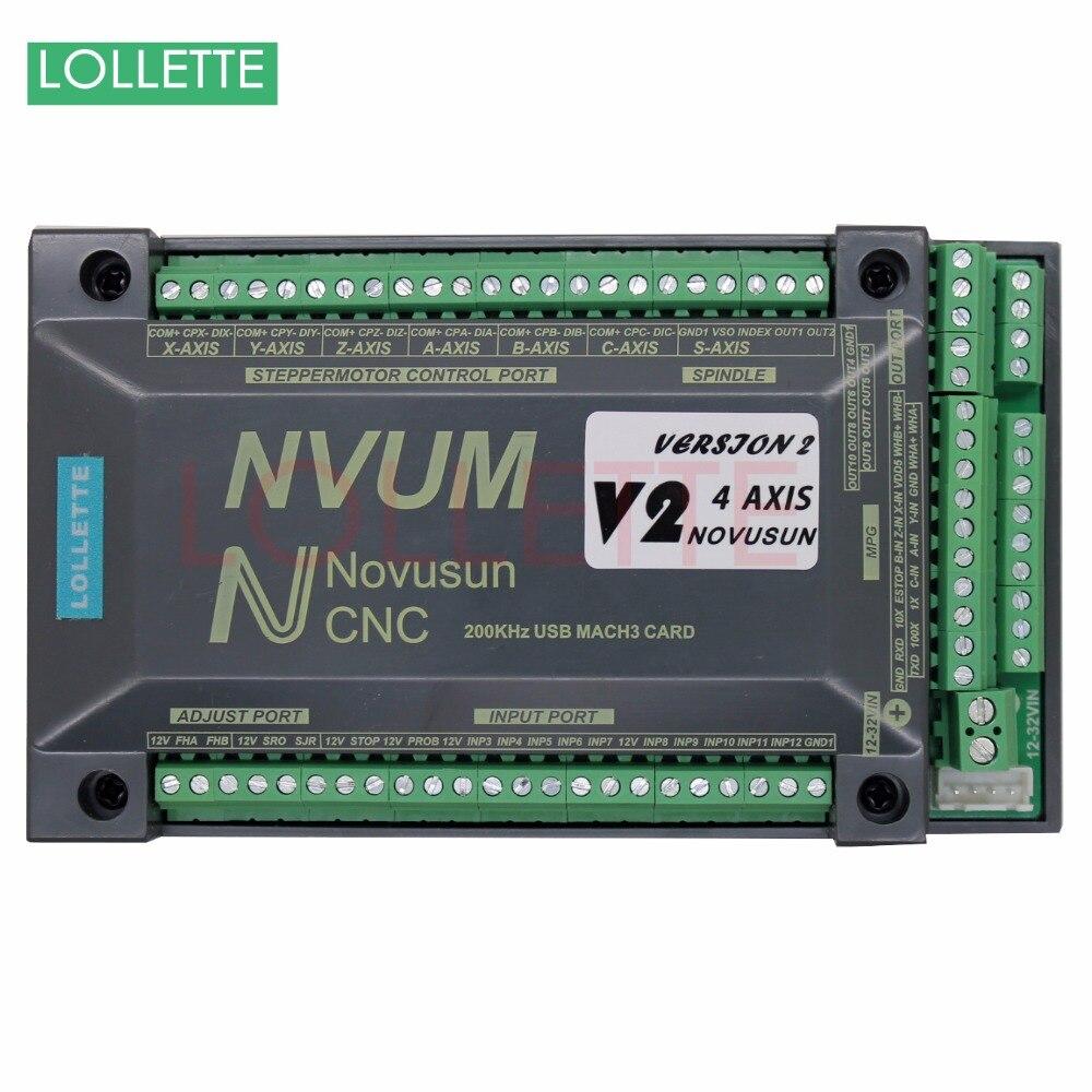 4 Axis USB Mach3 200KHZ NVUM CNC Controller Motion Control Card for Stepper Motor Servo Motor