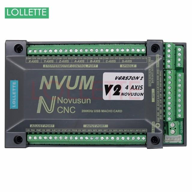 4 Axis USB Mach3 300KHZ NVUM CNC Controller Motion Control Card for Stepper Motor Servo Motor