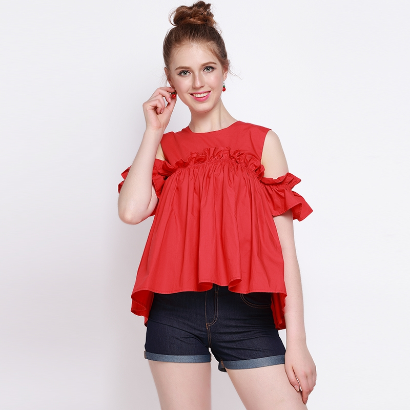 2017 Summer Western Style Slim Solid Color Ruffles