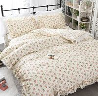 Pastoral yellow pink floral bedding set,cotton twin full queen king,single double home textile pillowcase quilt cover bed skirt