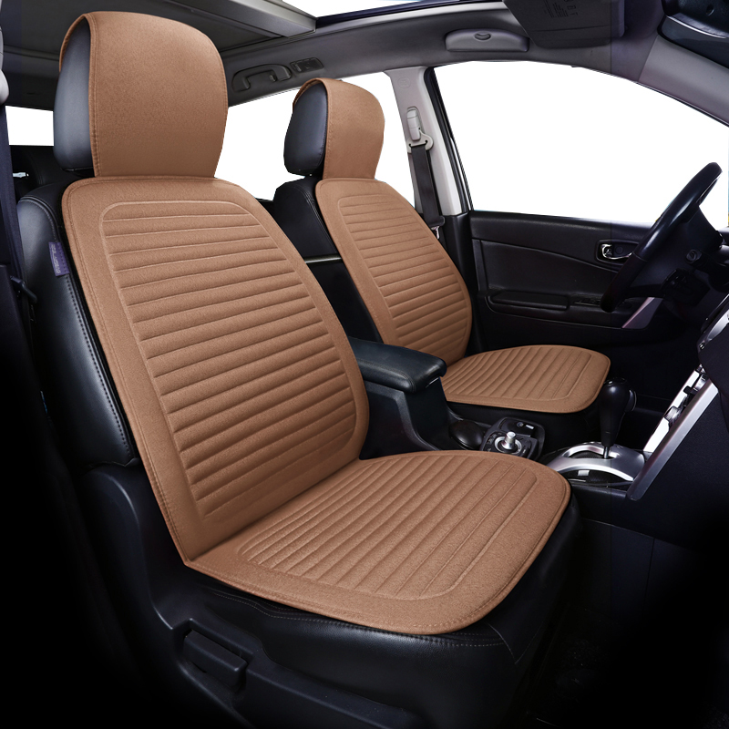 2pcs Car Front Seat Flax Fabrics Car Seat Covers Universal Car seat Cushion Accessories Decorate Protection