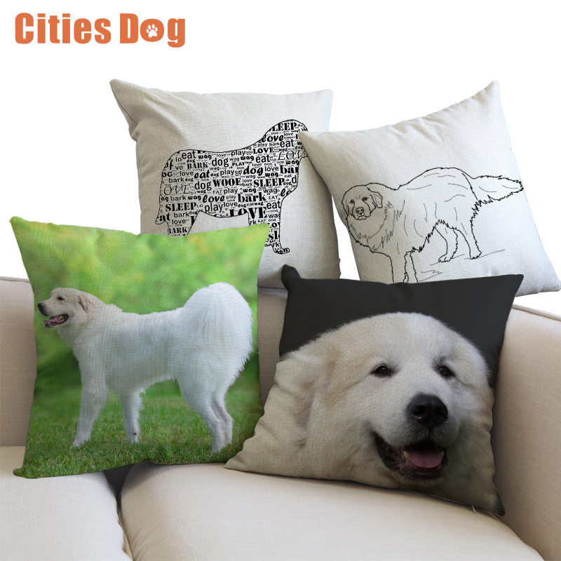 Decorative Cushion Animal dog Pillows Great Pyrenees cojines decoracion para el hogar linen 45x45cm throw Car Pillow