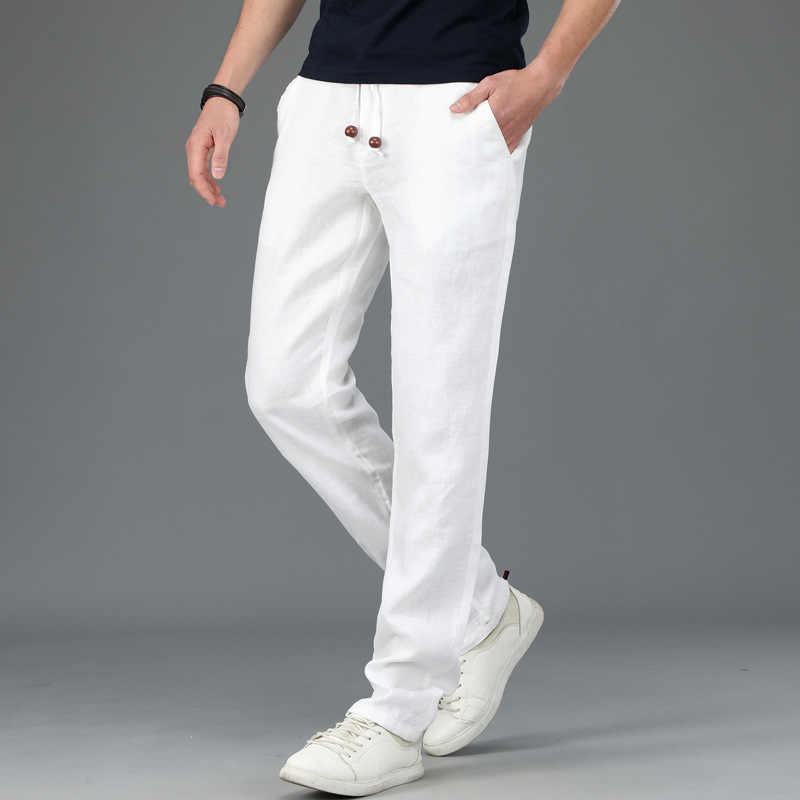 ee61d9fcbfa ICPANS White Linen Pants Men Summer Joggers Thin Male Sweatpants Trousers  Casual Trousers Man Straights 2019