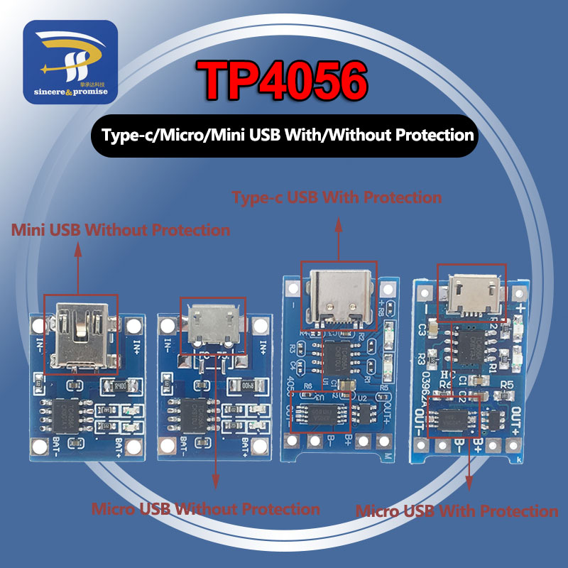 TP4056 1A Lithium Lipo Battery chargeur with or not protection DIY arduino