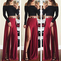 2 piece set women suit slim sexy bodycon off shoulder crop top and pants set split  long pants two piece outfit T279