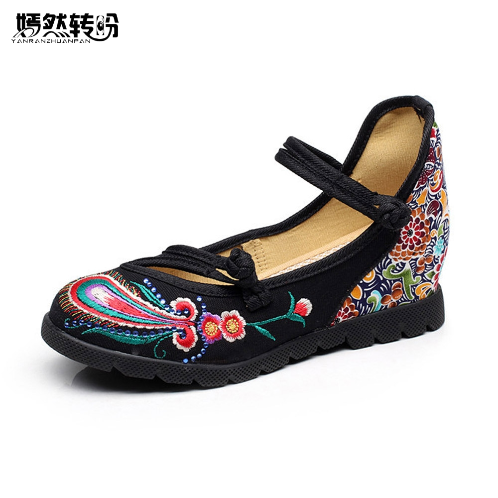 Vintage Shoes Peacock Tail Floral Embroidered Cotton Cloth Flat Ankle Buckles Ladies Embroidery Canvas Platforms Zapatos Mujer 酒店工程系统技术与应用