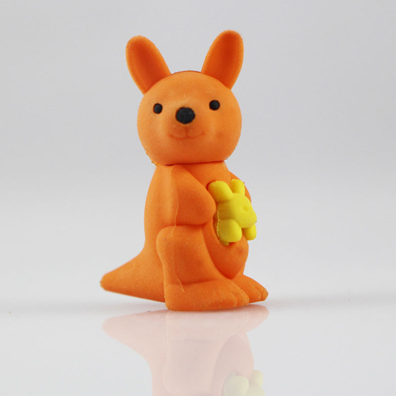 1Pcs Stationery Supplies Kawaii Cartoon Pencil Erasers Cute Kangaroo Erasers Office Correction Supplies Kid Learning Gifts