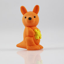1Pcs Stationery Supplies Kawaii Cartoon Pencil Erasers cute kangaroo office Correction Kid learning Gifts