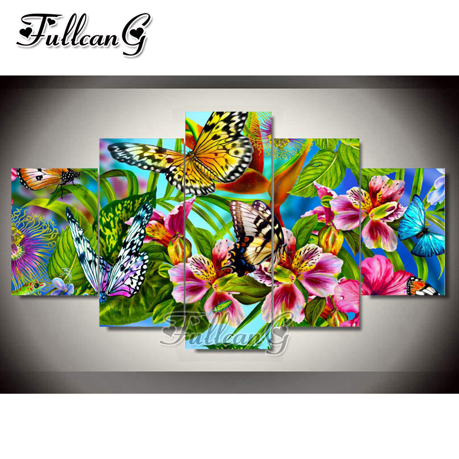 FULLCANG Flower Butterfly Diy Full Square Diamond Embroidery 5pcs Painting Cross Stitch Mosaic Needlework Kits G609
