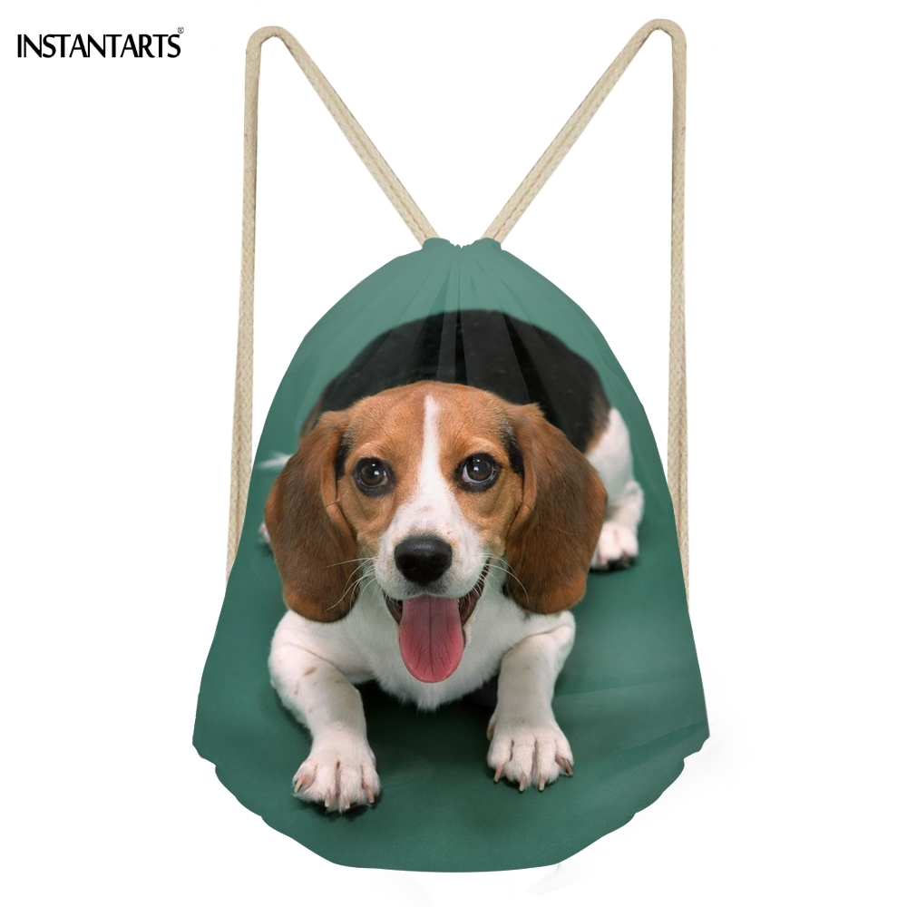INSTANTARTS Kawaii 3D Бигль собаки печать Для женщин Для мужчин завязки сумки Softback Путешествия хранения рюкзаки многофункциональный пляжные сумки ...