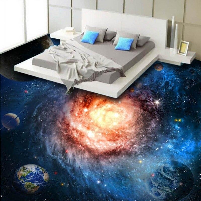 цена  Free Shipping custom 3D flooring paste Beautiful Star Earth waterproof thicken floor wallpaper mural  онлайн в 2017 году