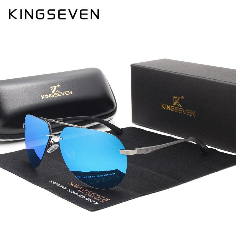 KINGSEVEN di Alluminio occhiali da sole polarizzati HD aviation Occhiali Da Sole Delle Donne Degli Uomini di Guida Occhiali Da sole Vntage oculos de sol