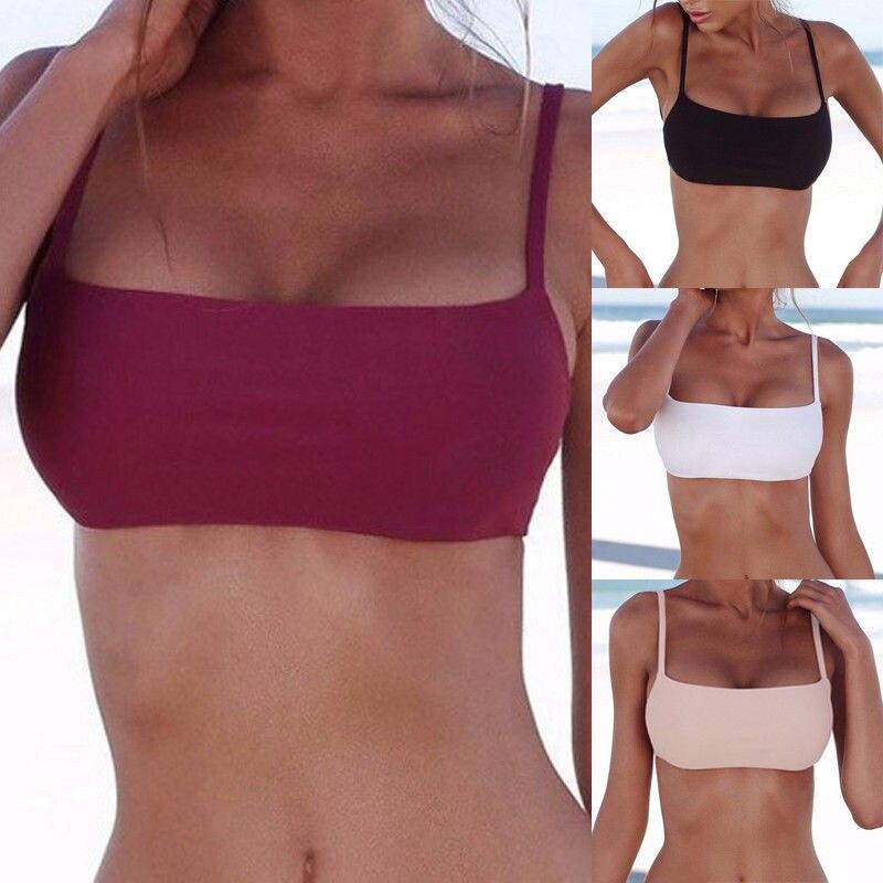 2018 New Arrival Sexy Sports Bra Top Bikini Special Solid Color Swimsuit Women Swimwear Swimwear Beachwear Unpadded Tops