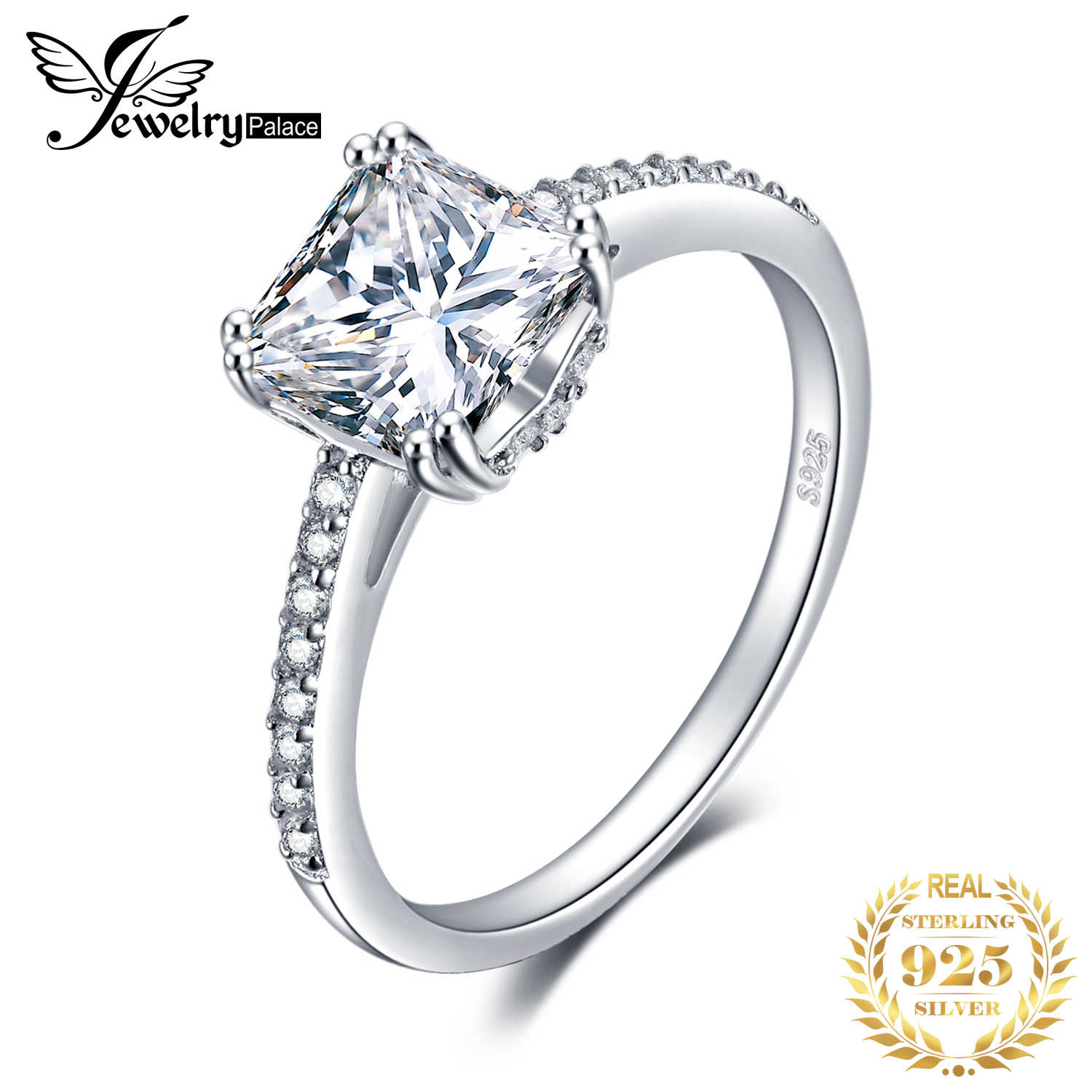 JewelryPalace Lovely Engagement Solitaire Ring Genuine 925 Sterling Silver Rhodium Plated Jewelry For Girl Birthday Present