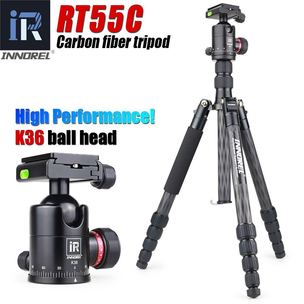 RT55C professionnel trépied en fibre de carbone pour appareil photo numérique tripode adapté pour voyage Top qualité série support de caméra 161cm max