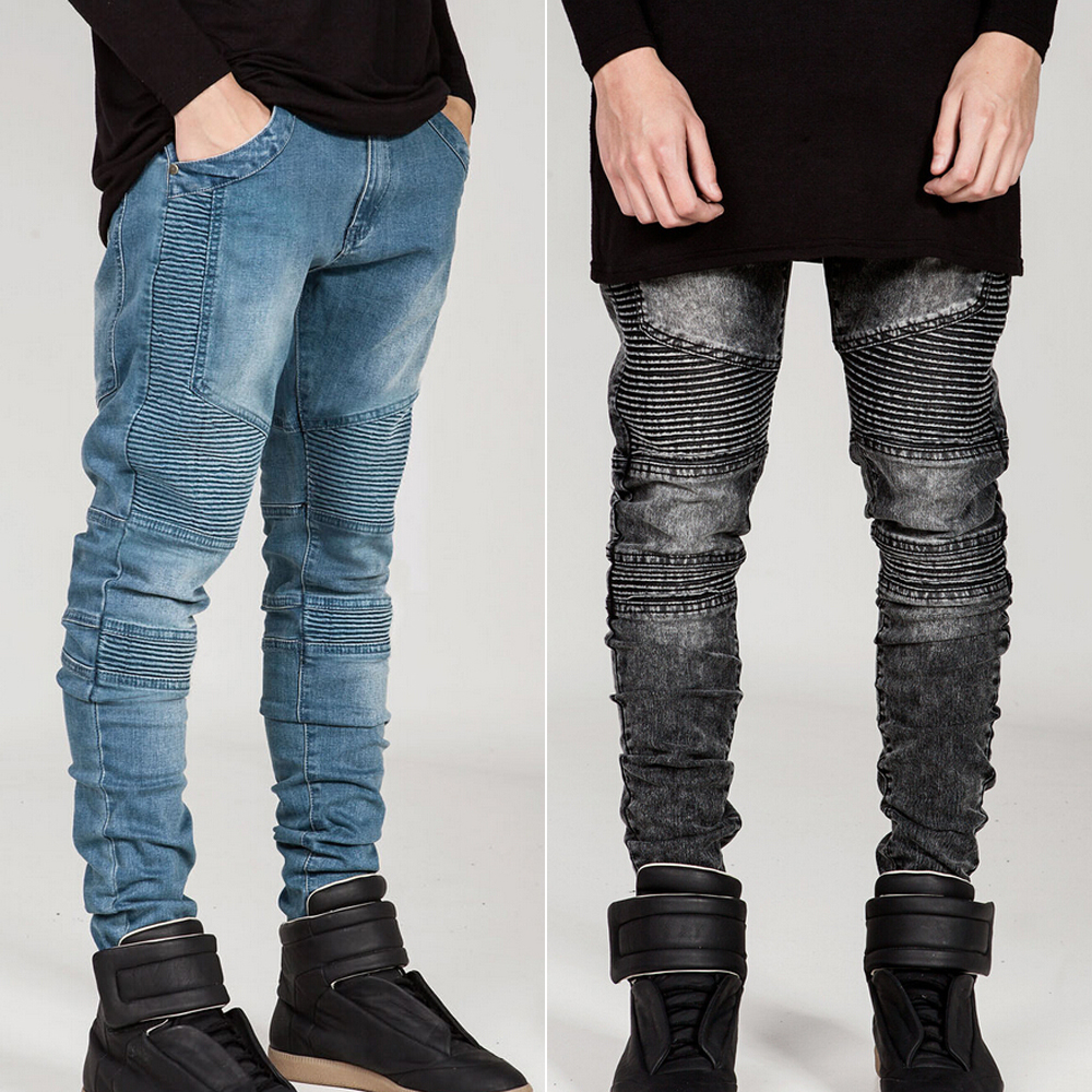 Mens Skinny Biker Jeans Men 2016 Street Ripped Rider Denim Motorcycle Runway Slim Fit Washed Moto Denim Pants Joggers 01Z999 mens skinny biker jeans runway distressed slim elastic jeans hiphop washed men a circle of zipper and side pleated black jeans