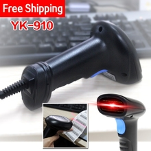 Free Shipping! Wired 1D Barcode Scanner Portable USB Bar Code Scanner 1D Bar Code Reader YK-910 Handheld USB 1D Laser Scanner