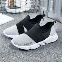 Gongma Summer Black Grey Shoes Woman Sneakers Super Light Running Shoes Men Slip On Breathable Sport