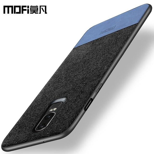 oneplus 6 case cover one plus 6 back cover silicone edge men business fabric shockproof case coque MOFi original 1+6 case 2