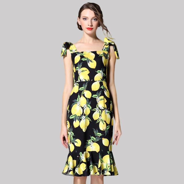11e2adb2627 Customize Summer Runway Designer Boutique Dress Women s High Quality Fresh  Yellow Lemon Printed Bow Shoulder Strap Mermaid Dress