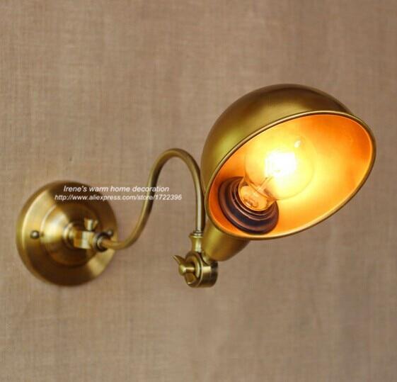 ①IWHD Loft Industrial Vintage LED Wall Lamps Golden Rocker Arm Wall ...