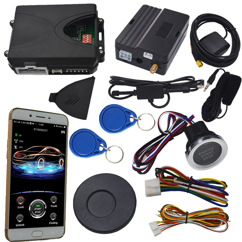 rfid car alarm security system and remote start stop engine by aftermarket alarm remote mobile app control the car push start easyguard pke car alarm system remote engine start stop shock sensor push button start stop window rise up automatically