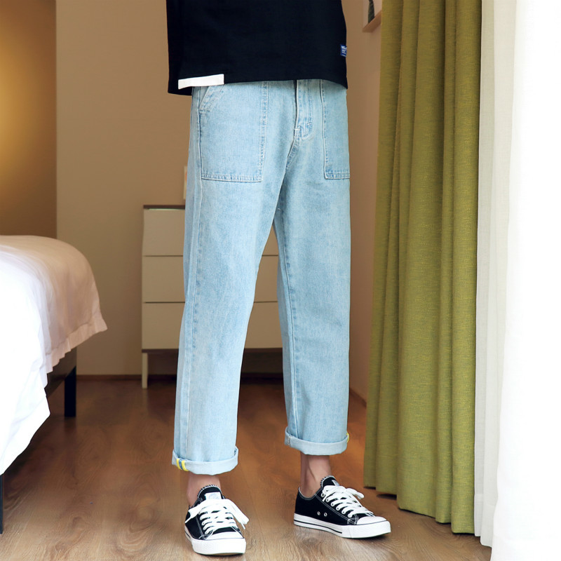 Man Nine Part Wide Leg Jeans You The new listing Wind In Leisure Time Japanese Motion Favourite Fashion Free shipping blue