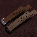 TOP Grade 22 mm Cowhide Leather smooth brown Watchband straps Silver black Stainless Steel Fold Butterfly Deployment Clasp 2016