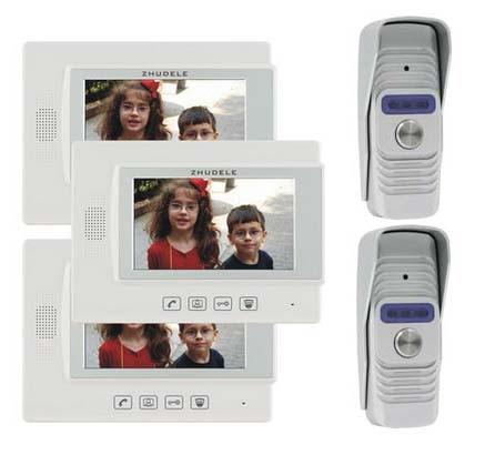 ZHUDELE Home Security Intercom Audio Doorbell for 2 Doors 7 Video Door Phone Doorbell 700TVL IR Camera w/t Waterproof Cover 2V3