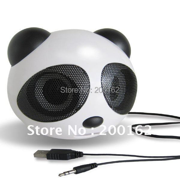 speakers New free shipping cute giant panda card _U disk speakers with remote control FM radio cartoon sound computer speakers