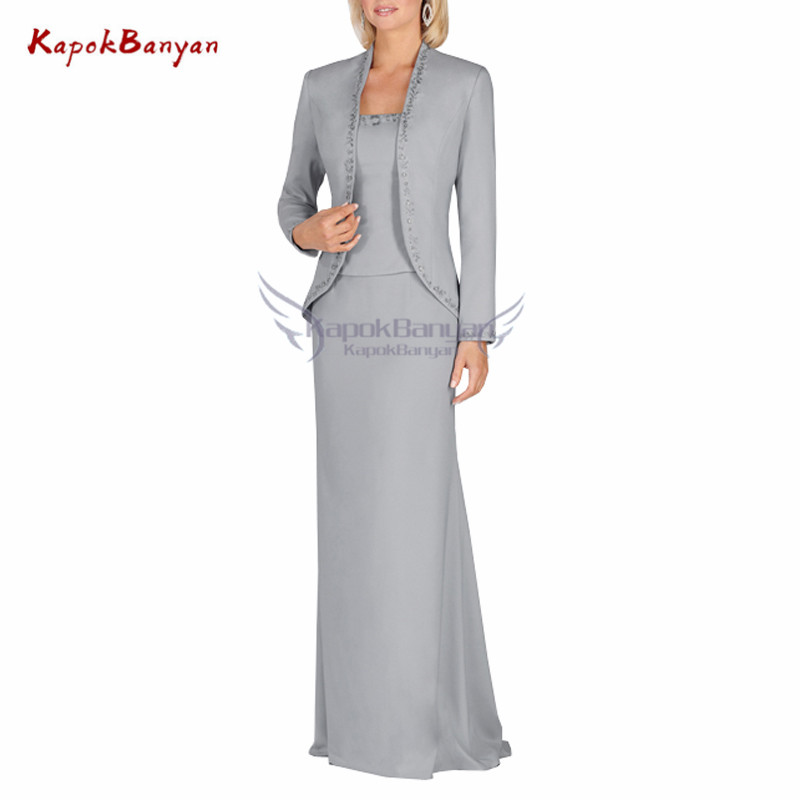 3 Pieces Satin Mother of Bride Dress with Full Sleeves Zipper Floor Length Wide waisted Formal Event Dress 2019