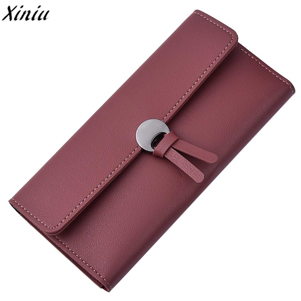 Wallet Women Leather Solid Color Hasp Long Purse Girls Cute Pendant Leisure Clutch Bag Qulited Money Bag Porte Monnaie #Y214
