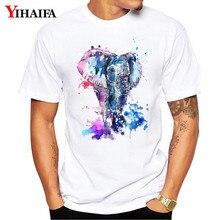 T Shirt Mens Colorful Elephant Tees White Tops Harajuku Design T-shirts 3D Print  Men Unisex Summer Tee