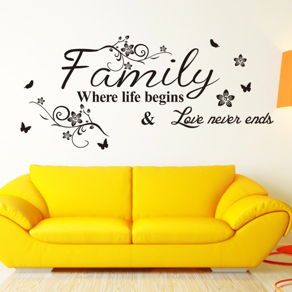 Family Where Life Begins Butterfly Flower Vinyl Quotes Lettering ...